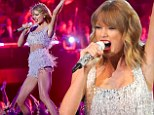 Taylor Swift bares midriff in sparkling dress as she performs Shake It Off at MTV Video Music Awards