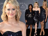 Orange is the new glam! Taylor Schilling wows in shimmering black dress alongside co-stars Laverne Cox and Uzo Aduba
