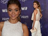 Beaded beauty! Sarah Hyland attends two pre-Emmy parties in the same designer white crop top and trousers ensemble