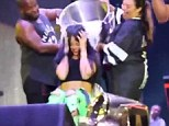 Rihanna bares midriff as she and Eminem partake in ALS Ice Bucket Challenge during final Monster Tour show