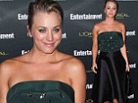 Kaley Cuoco makes an impression in sparkly green strapless top and black satin skirt at EW Pre-Emmy Party