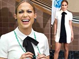 Jennifer Lopez is masculine-chic in tie and dress as she arrives at American Idol auditions in New Orleans