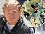 New role: Charlie Hunnam, shown filming Sons Of Anarchy earlier this month in Los Angeles, has been cast to play King Arthur