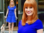 Jessica Chastain displays her feminine curves in cobalt blue dress as she takes her dog for a stroll in NYC