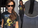 Skull-king around: Victoria Beckham wears  Grateful Dead T-shirt and leopard print boots as she heads to London