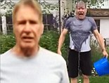 Hans Solo gets doused! Harrison Ford joins Star Wars cast in ALS ice bucket challenge while recovering his broken ankle