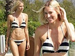 Body after surgery: Real Housewives of New York star Kristen Taekman unveiled the results of her latest boob job while at her family's Californian summer home this week