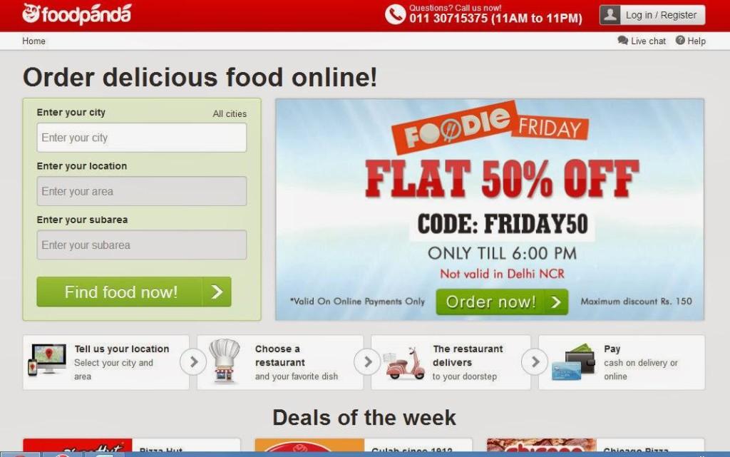 food panda website order food in india