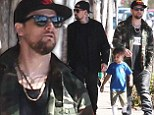 Guys only: Benji Madden, left, walked with his nephew Sparrow and twin brother Joel on Wednesday as they met up for lunch in West Hollywood, California