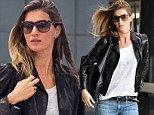 Lovely in leather! Barefaced Gisele Bundchen is effortlessly chic as she jets into JFK after long haul flight from Brazil