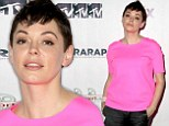 Pretty in pink: Rose McGowan wore pink as she attended The Wrap's ShortList Film Festival in Los Angeles