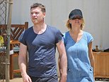 UK CLIENTS MUST CREDIT: AKM-GSI ONLY EXCLUSIVE: After enjoying a beach day, Sam Worthington and Lara Bingle stepped out to get some grocery shopping out of the way, the blonde babe wore a denim dress with a black cap and matching sandals. NO NEW ZEALAND/ NO AUSTRALIA  Pictured: Sam Worthington and Lara Bingle Ref: SPL828821  280814   EXCLUSIVE Picture by: AKM-GSI