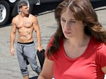 Zooey Deschanel films scenes for New Girl...as shirtless Alan Ritchson distracts co-stars with incredible abs