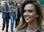 Jessica Alba rocks groovy bell bottoms for a Barely Lethal screening on the arm of a silver-haired gentleman