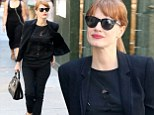 Blazer of glory! Jessica Chastain is casual but impossibly chic in black T-shirt, jacket and skinny jeans