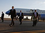 U.S. President Barack Obama (2nd L) walks to greet onlookers as he arrives via Air Force One at T.F. Green Airport in Warwick, Rhode Island August 29, 2014. Obama is attending a Democratic Party event in nearby Newport, Rhode Island. REUTERS/Jonathan Ernst (UNITED STATES - Tags: TRANSPORT POLITICS)