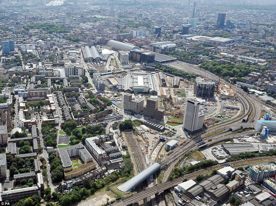 A view of King's Cross (centre left), St Pancras (centre) and Euston (large square roof right) and the new Thameslink Canal tunnel under construction