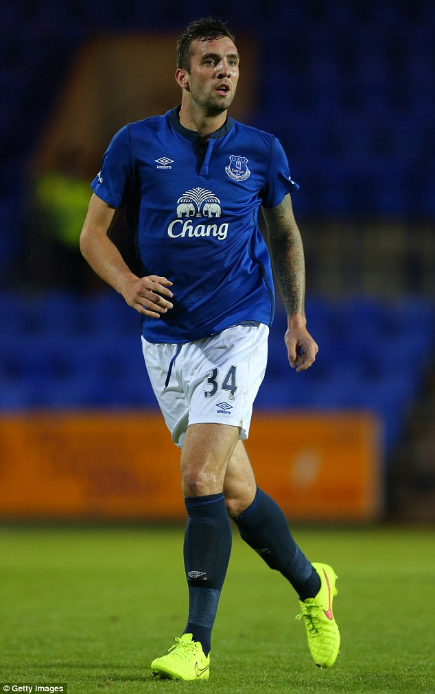 On the move: Shane Duffy, playing for Everton in a pre-season friendly against Celta Vigo, has joined Blackburn