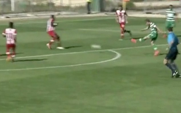 Driven: Gauld, 18, struck his shot sweetly for Sporting Lisbon's B-team before it took a big deflection