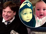 Meet my mini-mes! Mike Myers introduces his son Spike and baby daughter Sunday to David Letterman on The Late Show