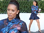 Former Spice Girl Mel B, 39, was looking youthful on Friday when she was spotted out on a coffee run in a navy blue ruffled mini skirt, black heels and a floral print blouse in Los Angeles