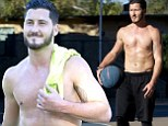 Hunk alert! Shirtless Val Chmerkovskiy shows off his chiseled muscular physique while shooting hoops in LA