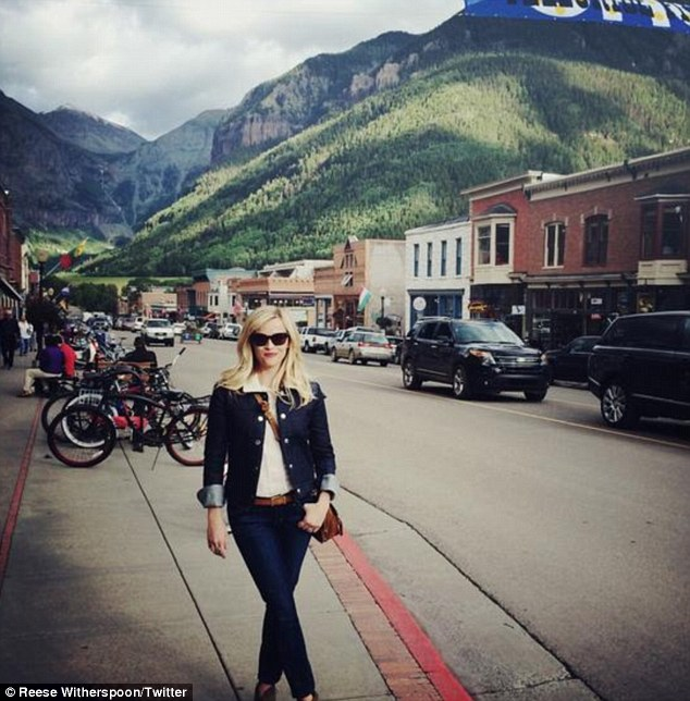 'So excited': A snap shared by the pretty actress captured Reese as she stood on the streets of the mountain view town