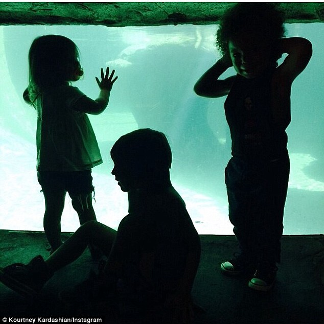 Wild things: Earlier in the day, Kourtney shared an image of her and a friend's children at the zoo