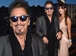 Al Pacino, 74, beams as he is accompanied by statuesque girlfriend Lucila Sola, 35, while receiving an award in Venice