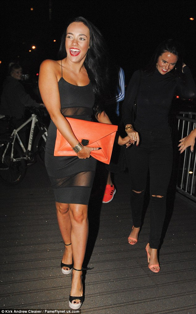 Girls' night out: Stephanie Davis turned heads as she headed out in a sheer black panelled dress for Jennifer Metcalfe's 31st birthday celebrations