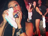 Moved: Mya wiped her tears as she put on an emotional performance at a nightclub in Vancouver, Canada on Saturday