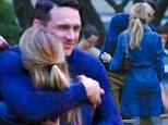 Hugging it out: James Franco gave co-star Emma Roberts a big hug on Saturday on the set of Michael in Long Island, New York