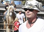 Pony up! Gavin Rossdale takes son Kingston and Zuma horseback riding for a boys day in Burbank