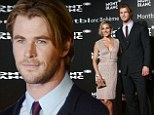 Chris Hemsworth, 31, and his wife Spanish actress Elsa Pakaty, 38, attended the launch event of Montblanc's boheme collection in Shanghai, China on Thursday