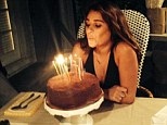 'A very happy birthday!' Lea Michele dons plunging navy dress to celebrate turning 28 with an intimate fete and calorific treats