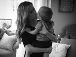'Kisses from my little man before date night with the big one': Doting mom Kristin Cavallari shares adorable photo as she cuddles with son Camden