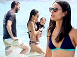 Jordana Brewster, 34, shows off her bikini body while on holiday in Hawaii with her husband film producer Andrew Form and their nearly one-year-old son Julian