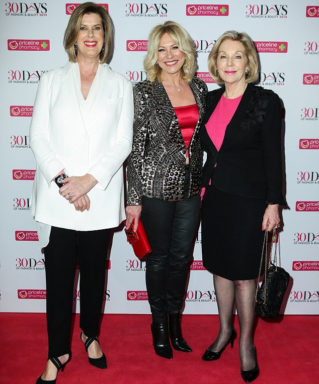 With the girls: The morning TV queen posed with fellow media personalities Ita Butrose andDeborah Thomas at the 30 days Of Fashion launch in Sydney on Thursday night