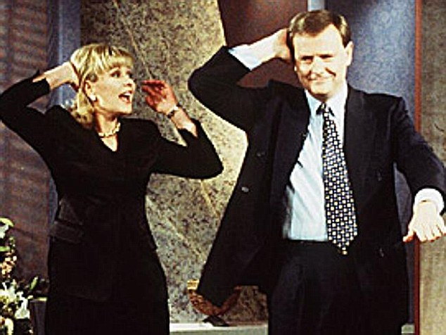 Long career: The bubbly blonde (pictured here dancing with then treasurer Peter Costello) first started in television as a 13-year-old on local children's programs