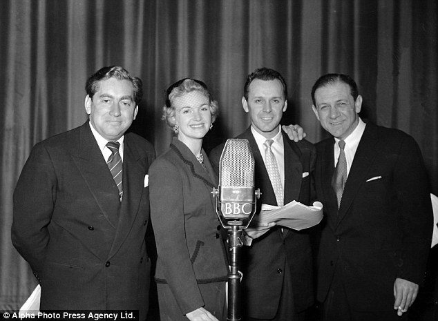 Hancock's Half Hour, written by Ray Galton and Alan Simpson, began on radio in 1954. In rehearsals: (left to right): Tony Hancock, Moira Lister, Bill Kerr and Sid James