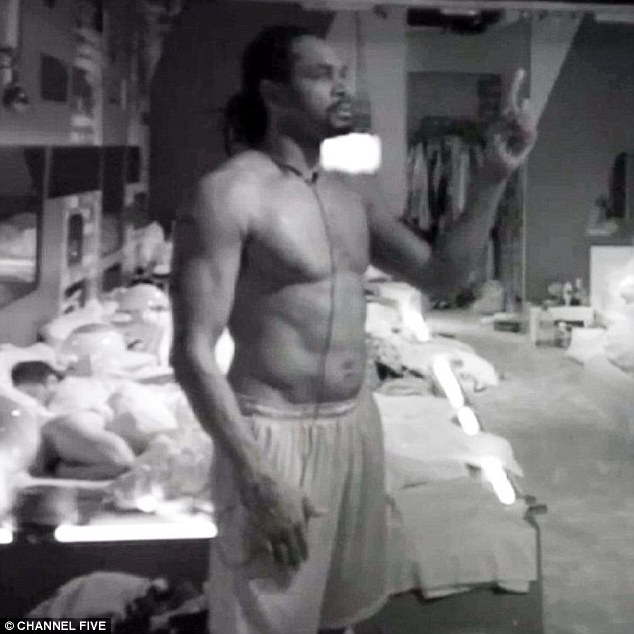 Curious: Audley Harrison conducted a series of offbeat exercises in the Celebrity Big Brother bedroom on Thursday evening