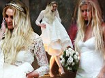 Ashlee Simpson dons lacy white gown to say 'I do' to Evan Ross in lavish (rain-soaked) Boho-style wedding... and sister Jessica is matron-of-honor