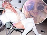 'Desert anime': Candice Swanepoel partied away at the Burning Man Festival, which ran for one week and ended on Monday - pictured in an Instagram snap posted Monday