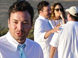 Catching up: Jimmy Fallon and Drew Barrymore were seen together at a Labor Day weekend beach party in the elite Hamptons neighborhood of New York on Saturday