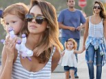Grunge chic: Jessica Alba dressed down in a 90s-inspired ensemble as she and her husband Cash Warren took their daughters Honor and Haven to the Malibu Chili Cook-Off on Monday