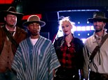 'The good, the bad, the ugly and Gwen Stefani': The quartet all appear in the saloon at the end of the trailer