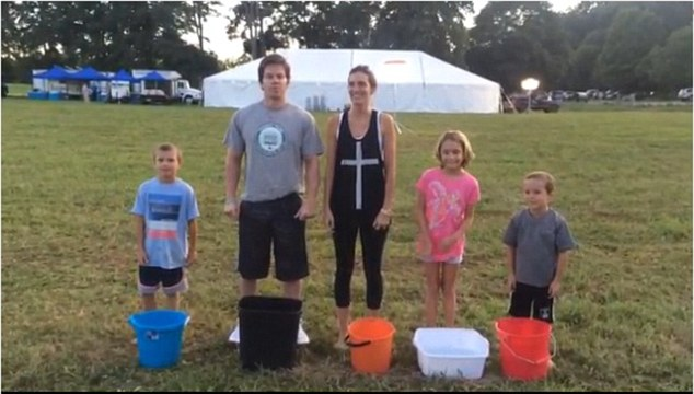 Family fun: Mark and his wife Rhea, along with Michael, Ella and Brendan, accepted to ALS Ice Bucket Challenge last week