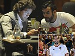 Picture Shows: Alvaro Negredo  September 01, 2014    Manchester City Centre forward Alvaro Negredo spotted with what looks to be an agent in a hotel bar in Manchester, having a late night meeting on transfer day, maybe finalising a move.    Non Exclusive  WORLDWIDE RIGHTS    Pictures by : FameFlynet UK    2014  Tel : +44 (0)20 3551 5049  Email : info@fameflynet.uk.com