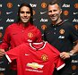MANCHESTER, ENGLAND - SEPTEMBER 01:  (EXCLUSIVE COVERAGE) (MINIMUM FEES APPLY - 150 GBP PRINT & 75 GBP ONLINE OR LOCAL EQUIVALENT, PER IMAGE) Radamel Falcao of Manchester United poses with Assistant Manager Ryan Giggs after signing for the club on loan on September 1, 2014 in Manchester, England.  (Photo by John Peters/Man Utd via Getty Images)