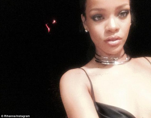 Daring dinner date: Rihanna told her followers she had 'sailed up to an active volcano for dinner' as she posted a fun selfie on her page